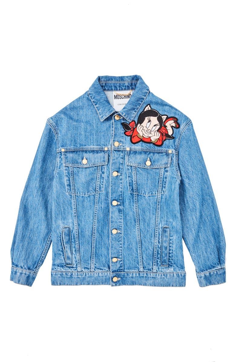 MOSCHINO Porky & Petunia Pig Denim Jacket, Main, color, 400