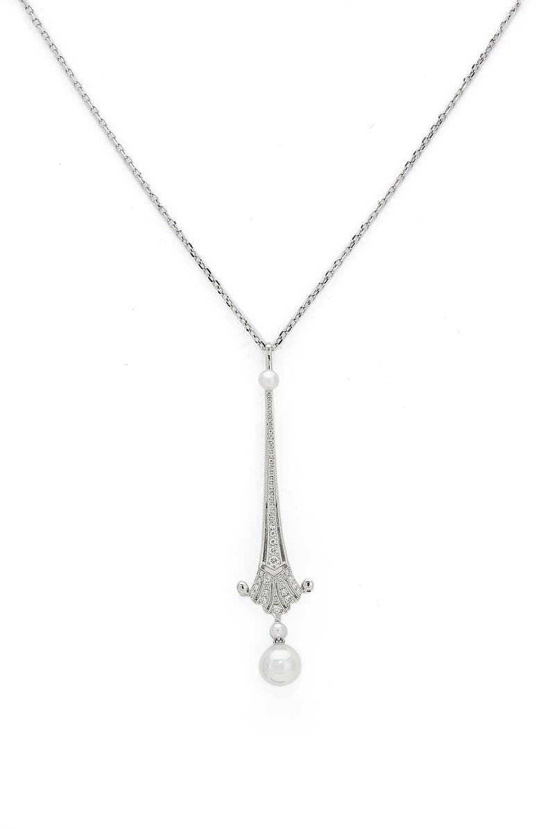 MIKIMOTO 'Legacy Collection' Akoya Cultured Pearl & Diamond Pendant Necklace, Main, color, 100