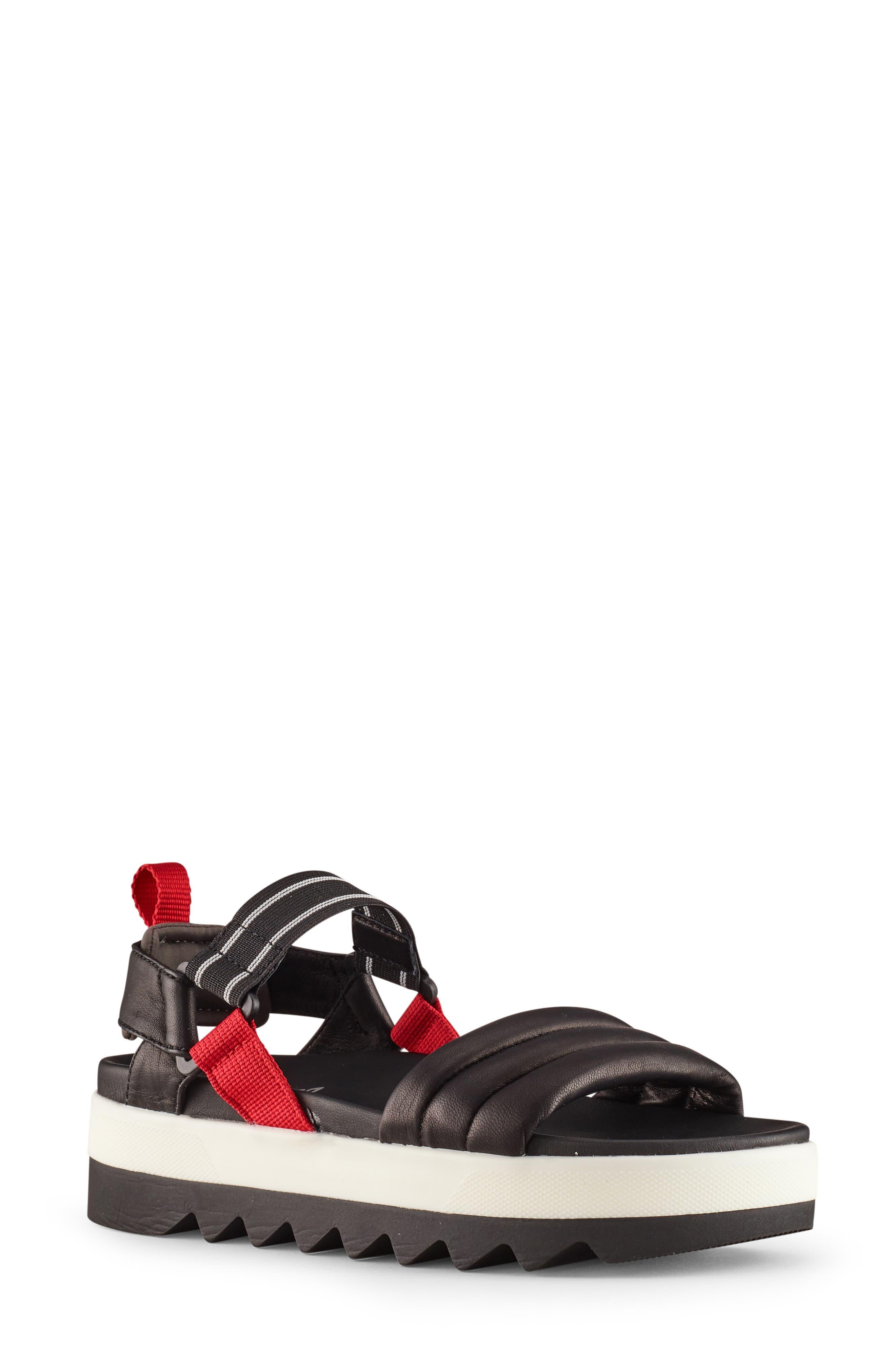 Pippy Platform Sandal, Main, color, BLACK/ RED LEATHER