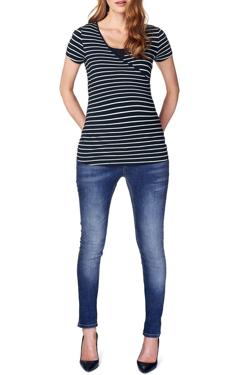 NOPPIES 'Lely' Stripe Maternity/Nursing Tee, Main, color, DARK BLUE