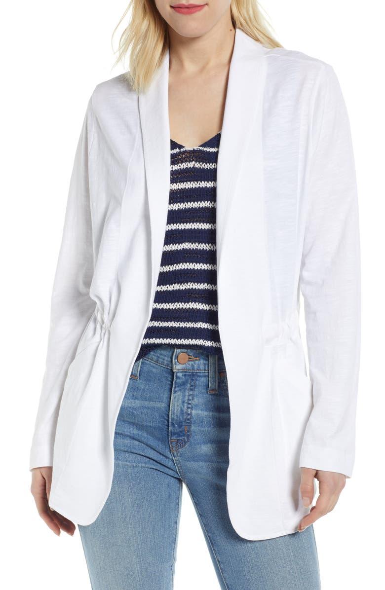 CASLON<SUP>®</SUP> Cinch Waist Knit Jacket, Main, color, WHITE