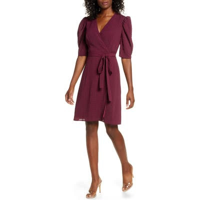 Charles Henry Tonal Check Wrap Dress, Red