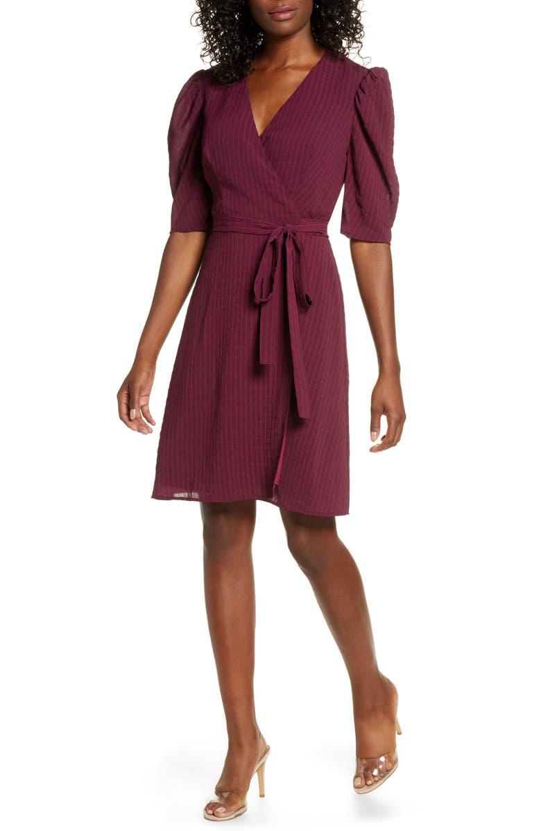 CHARLES HENRY Tonal Check Wrap Dress, Main, color, BORDEAUX