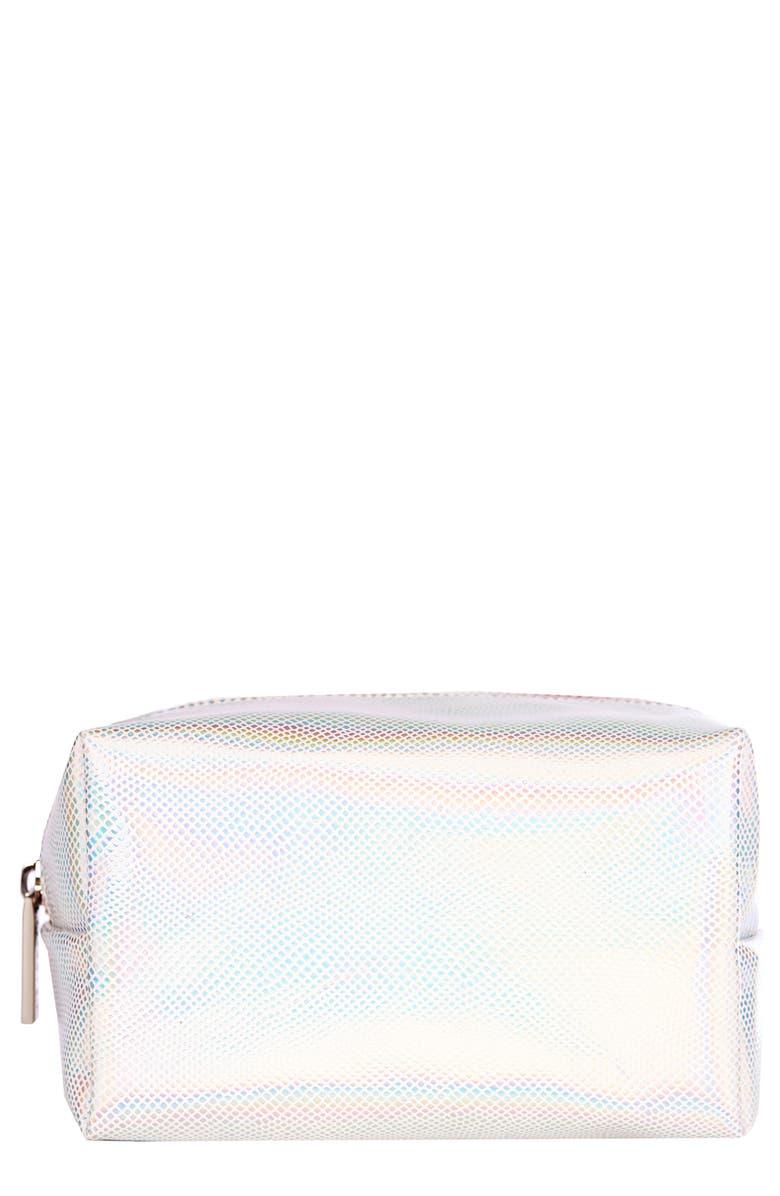 SKINNYDIP Holo Makeup Bag, Main, color, NO COLOR