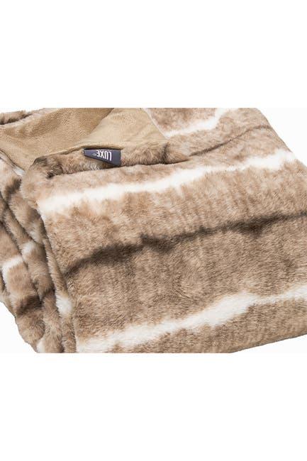 "Image of LUXE Faux Fur Throw - 50"" x 60"" - Beige Rabbit"