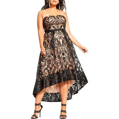 Plus Size City Chic Embroidered Attraction High/low Cocktail Dress, Black
