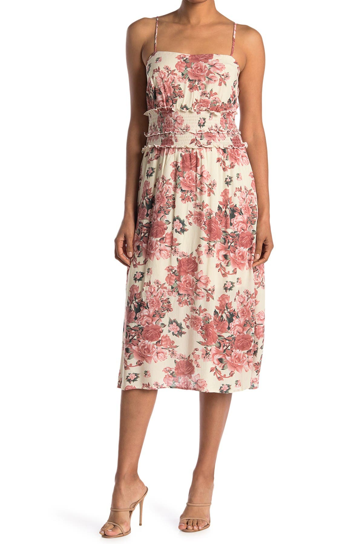 Image of Lush Spaghetti Strap Smock Waist Dress