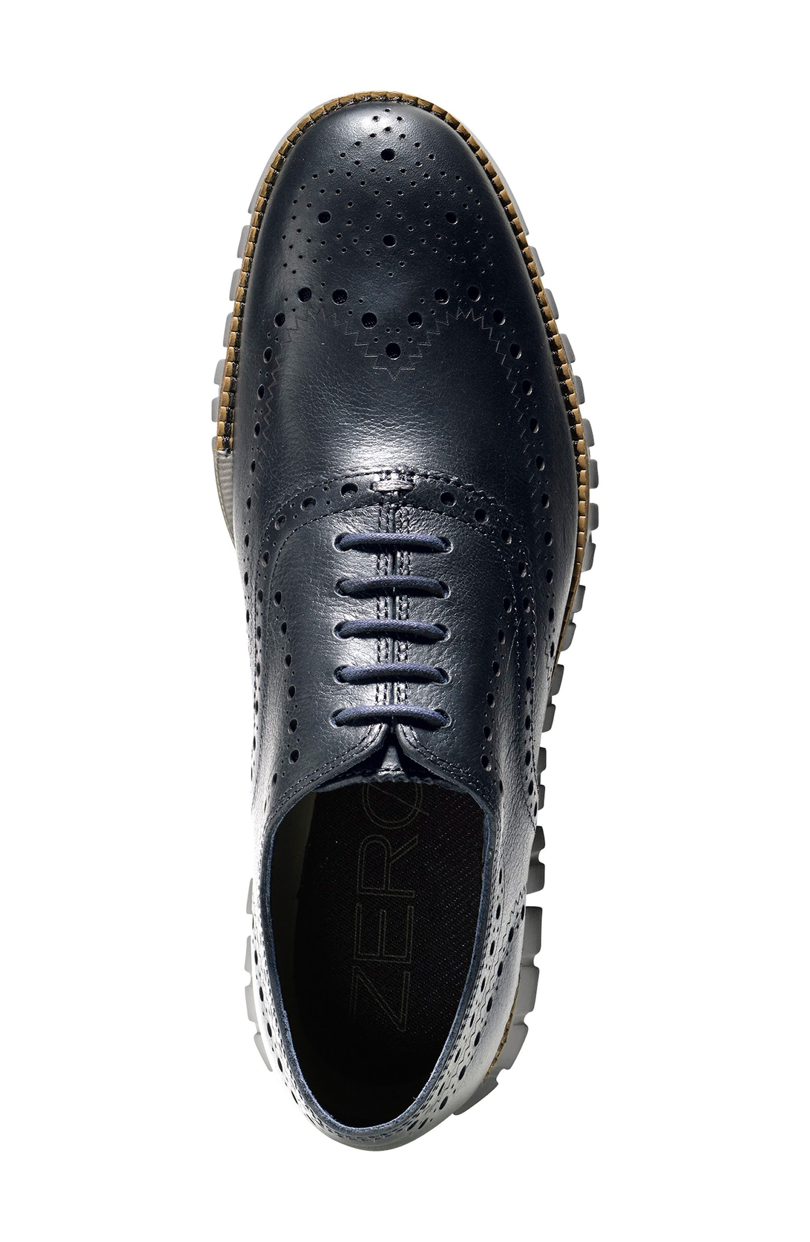 ,                             'ZeroGrand' Wingtip Oxford,                             Alternate thumbnail 4, color,                             NAVY INK LEATHER