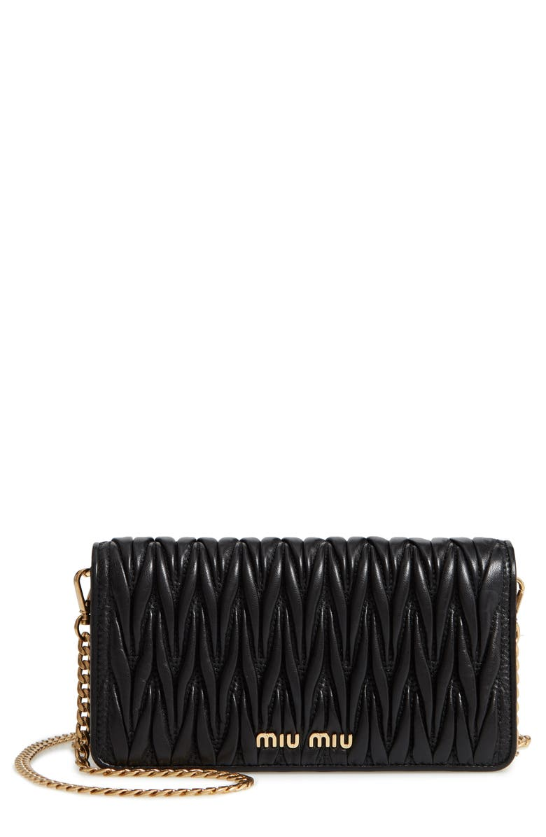 MIU MIU Matelassé Leather Wallet on a Chain, Main, color, NERO