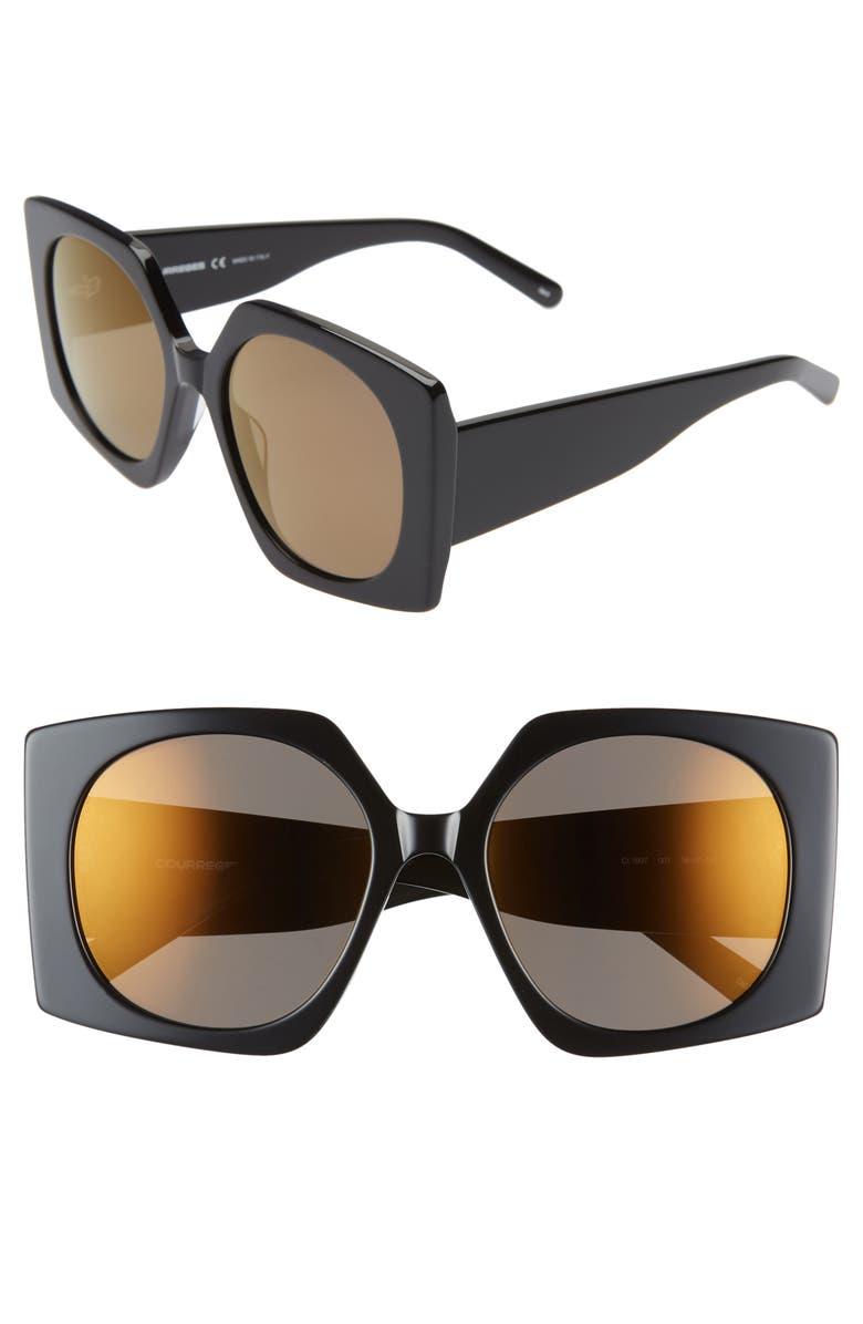 COURREGES 56mm Square Sunglasses, Main, color, BLACK/ LIGHT BLUE