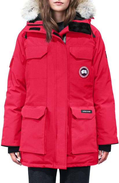 Canada Goose Expedition Hooded Down Parka With Genuine Coyote Fur Trim In Red