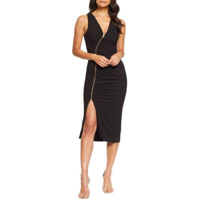 Dress The Population Ivy Ruched Zip Front Sleeveless Body-Con Midi Dress, Black