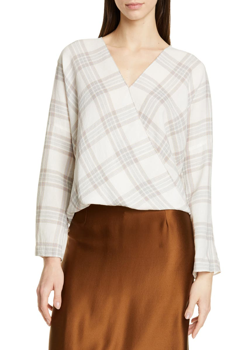 VINCE Plaid Crossover Top, Main, color, OFF WHITE