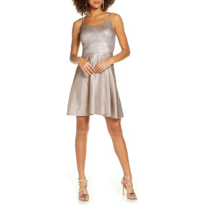 Morgan & Co. Shimmer Skater Dress, Metallic
