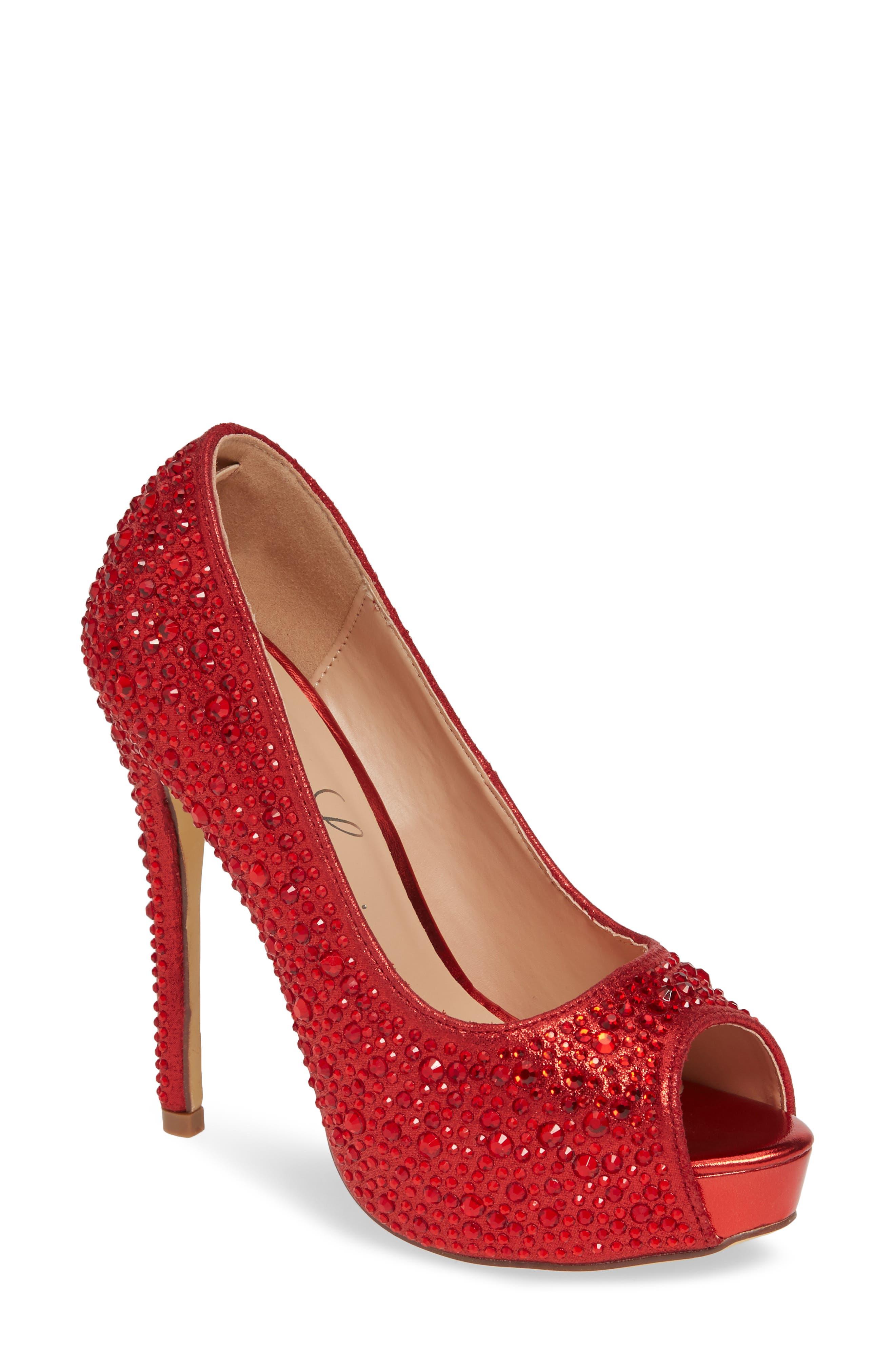 Lauren Lorraine Candy 6 Open Toe Pump- Red