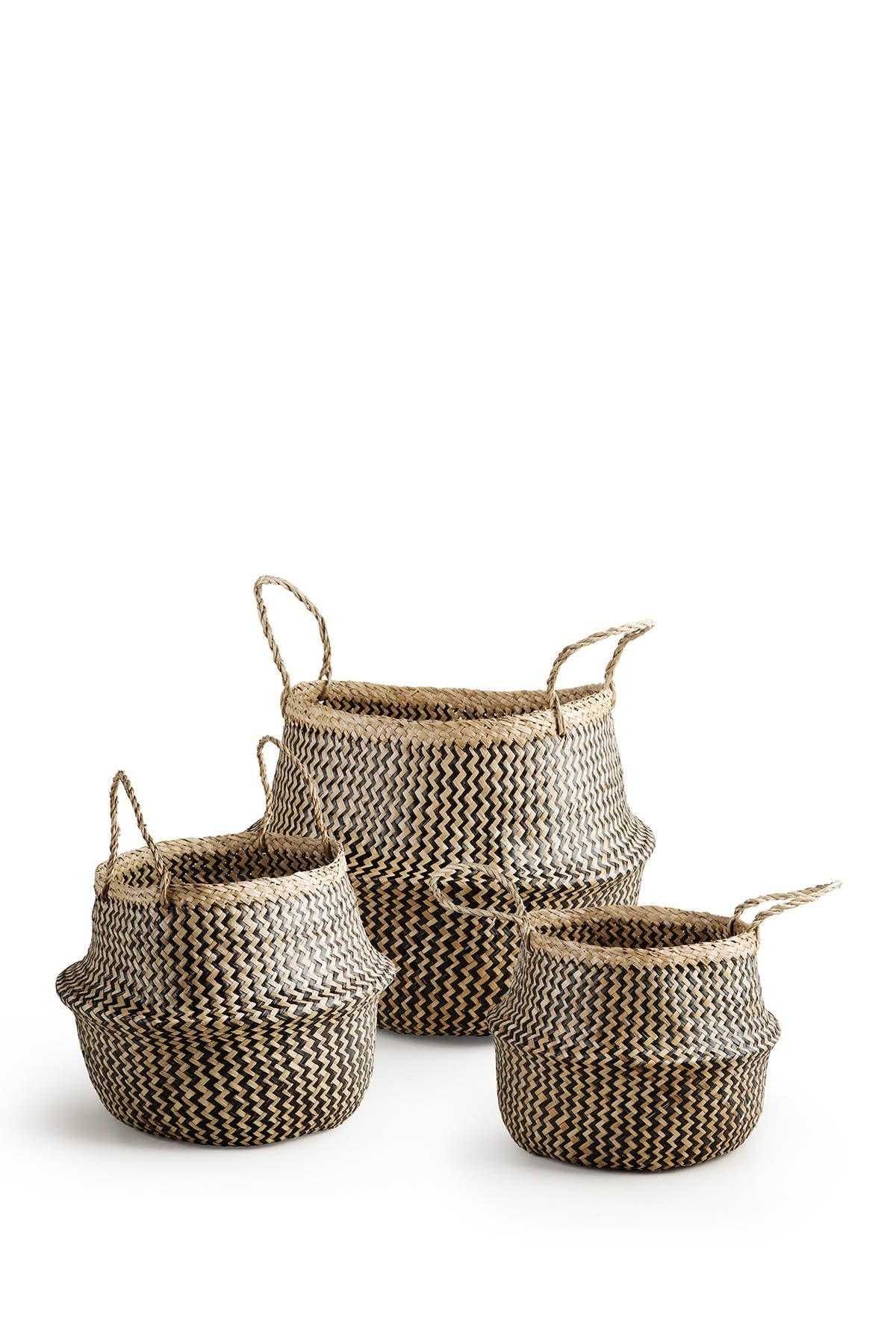 Image of Home Essentials and Beyond Seagrass Round Woven Handle Basket - Set of 3