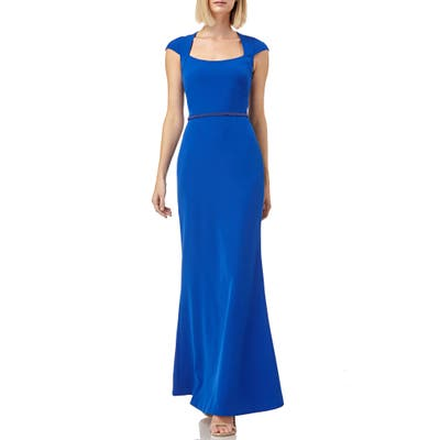 Kay Unger Cap Sleeve Stretch Crepe Gown, Blue