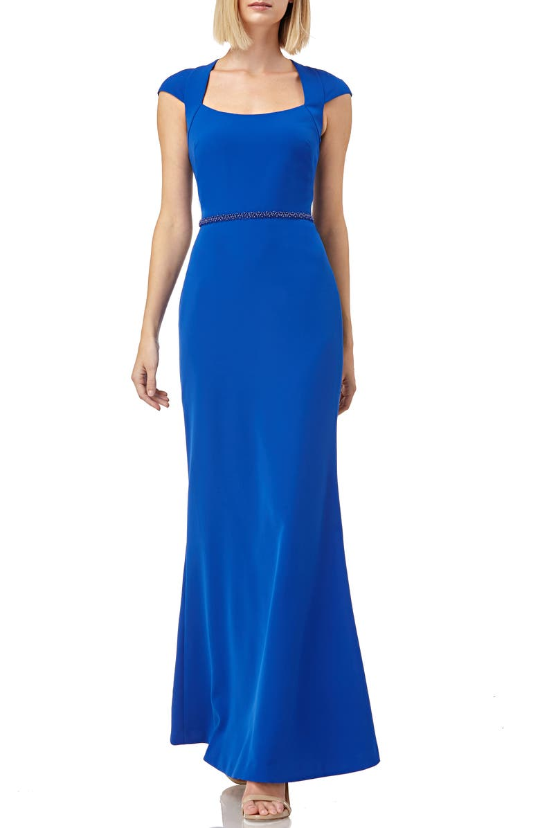 KAY UNGER Cap Sleeve Stretch Crepe Gown, Main, color, ROYAL BLUE