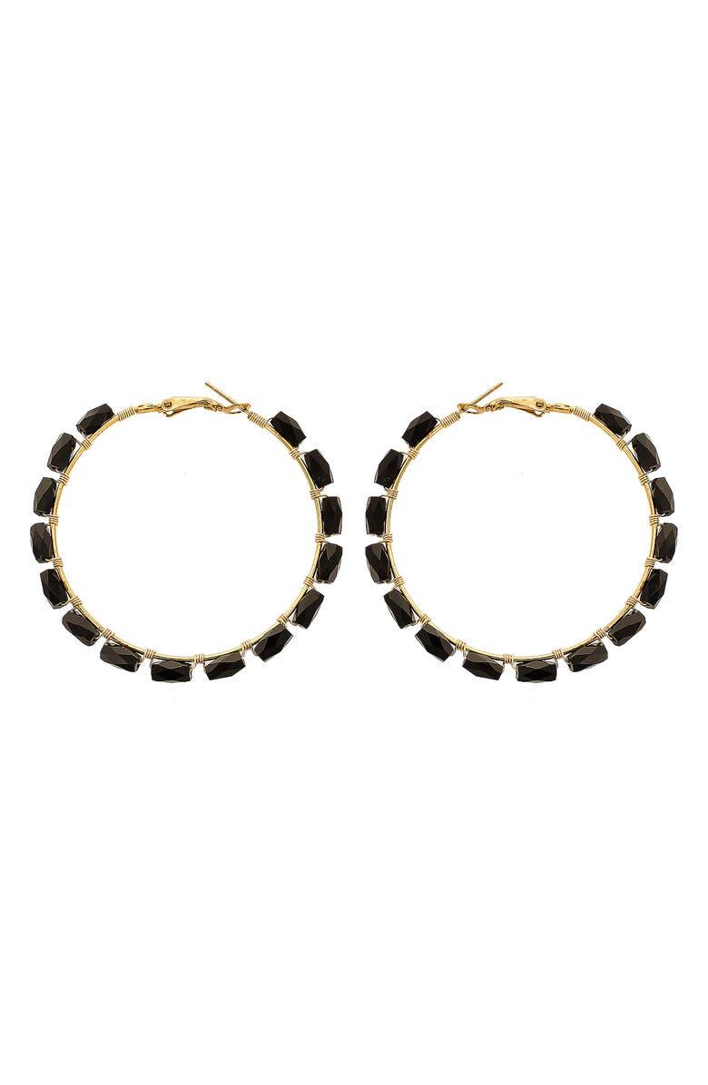 PANACEA Rectangle Crystal Hoop Earrings, Main, color, 001
