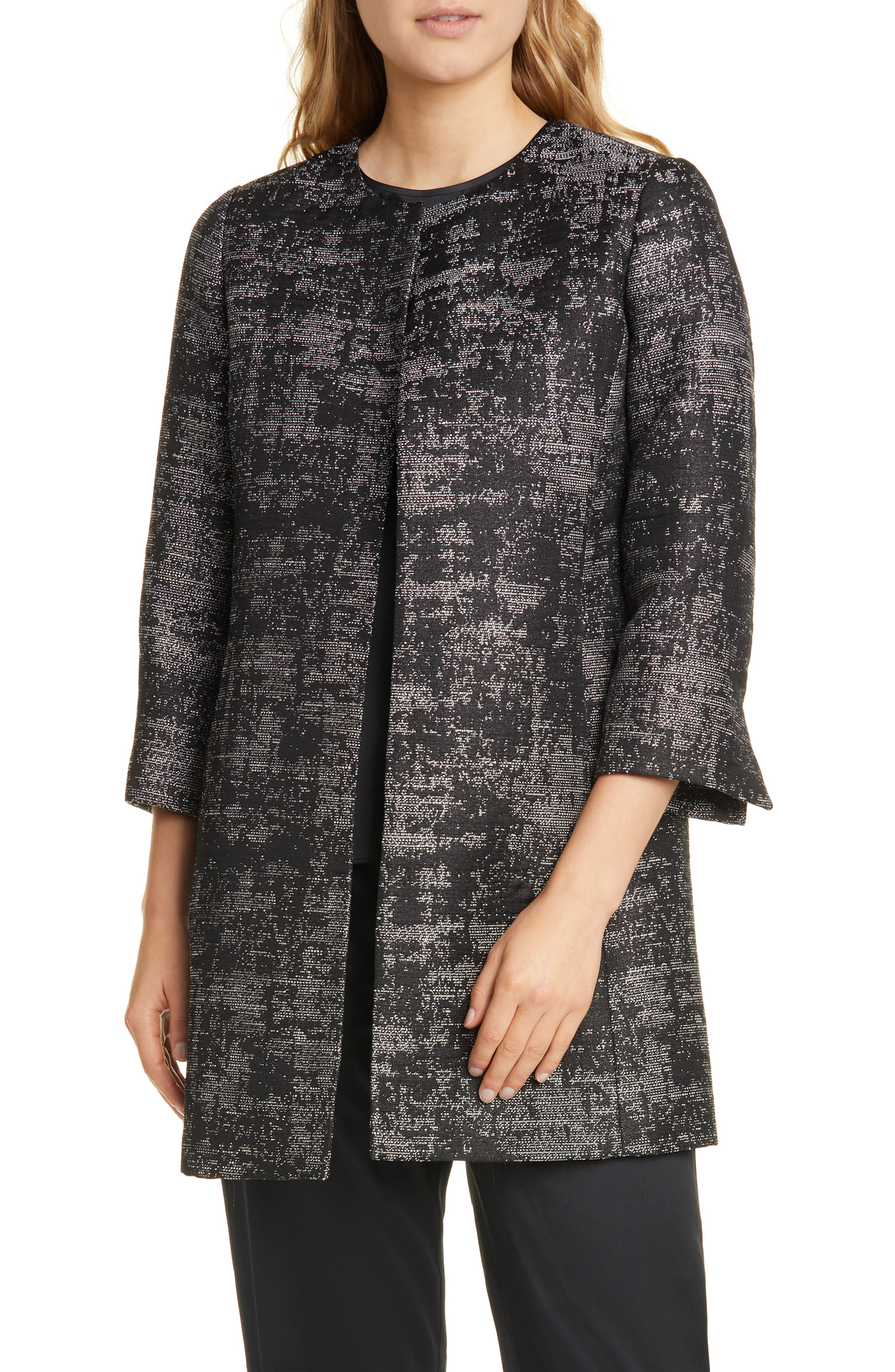 Collarless Open Front Coat by Eileen Fisher