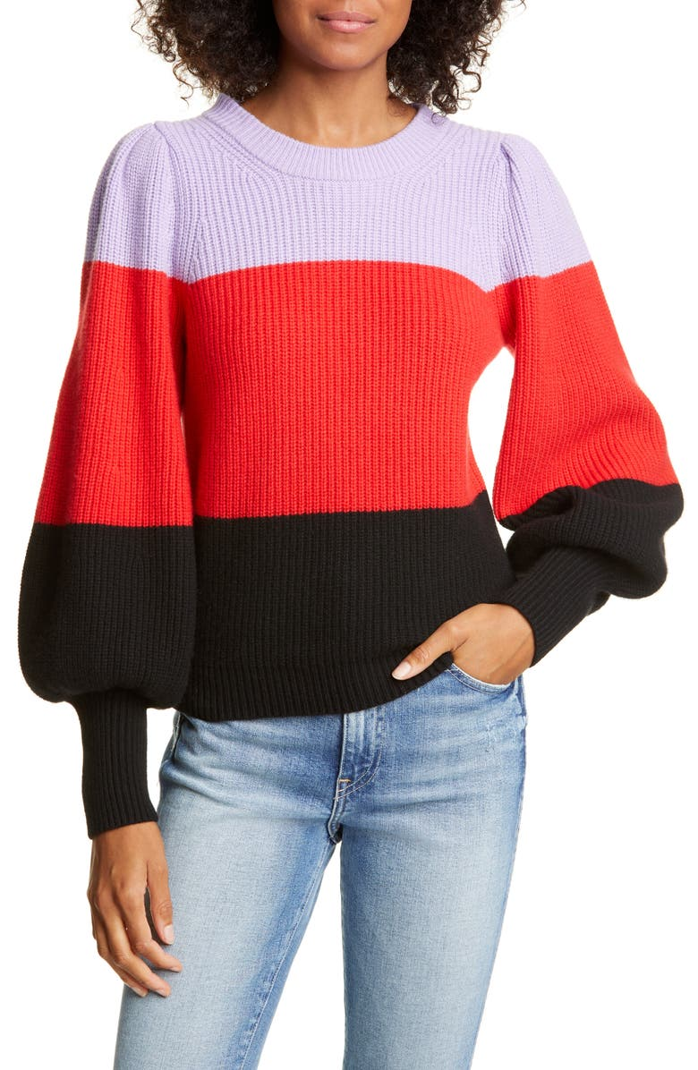 A.L.C. Sammy Balloon Sleeve Wool & Cashmere Blend Sweater, Main, color, WISTERIA/ RED/ BLACK