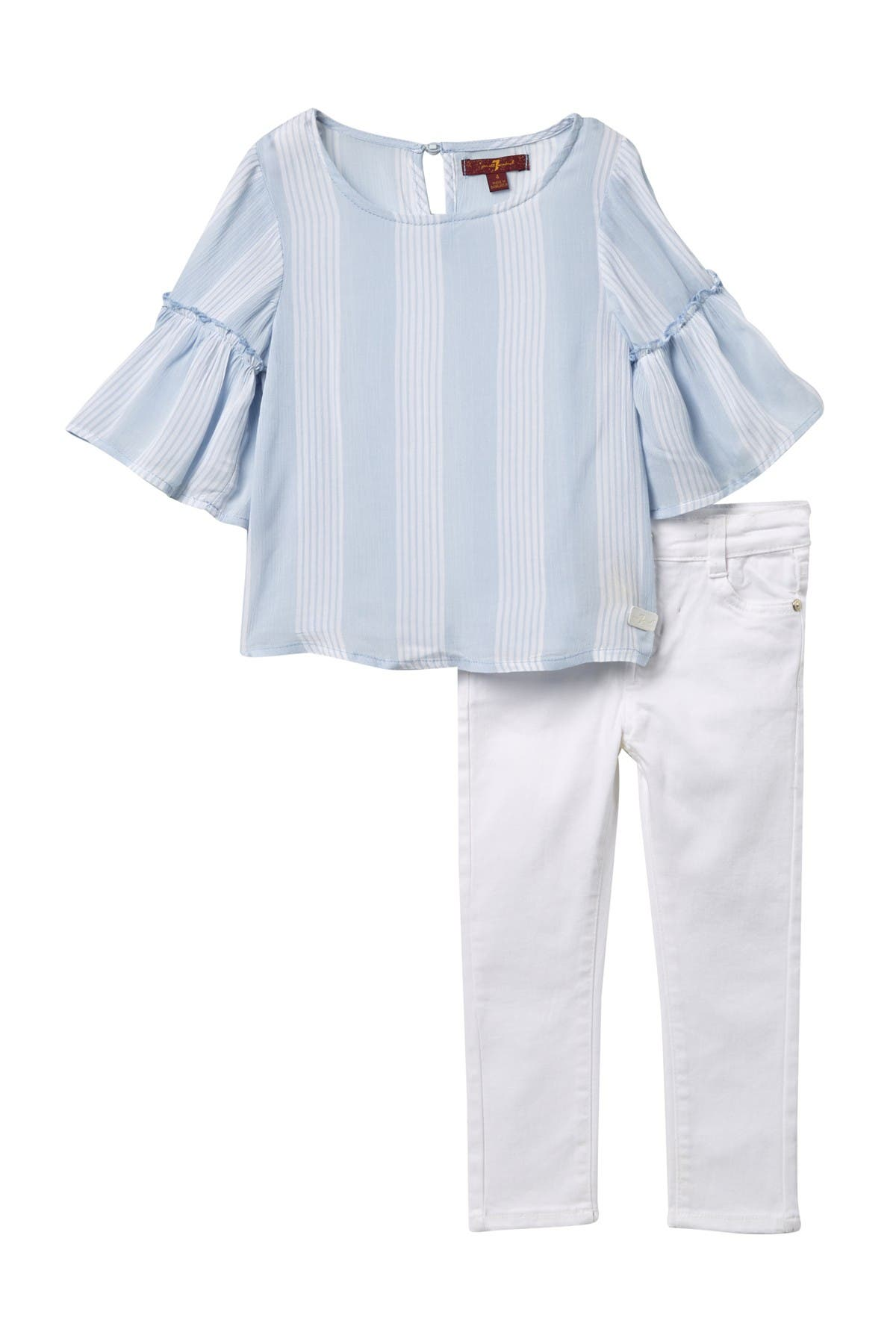 Image of 7 For All Mankind Bell Sleeve Top & Jeans Set