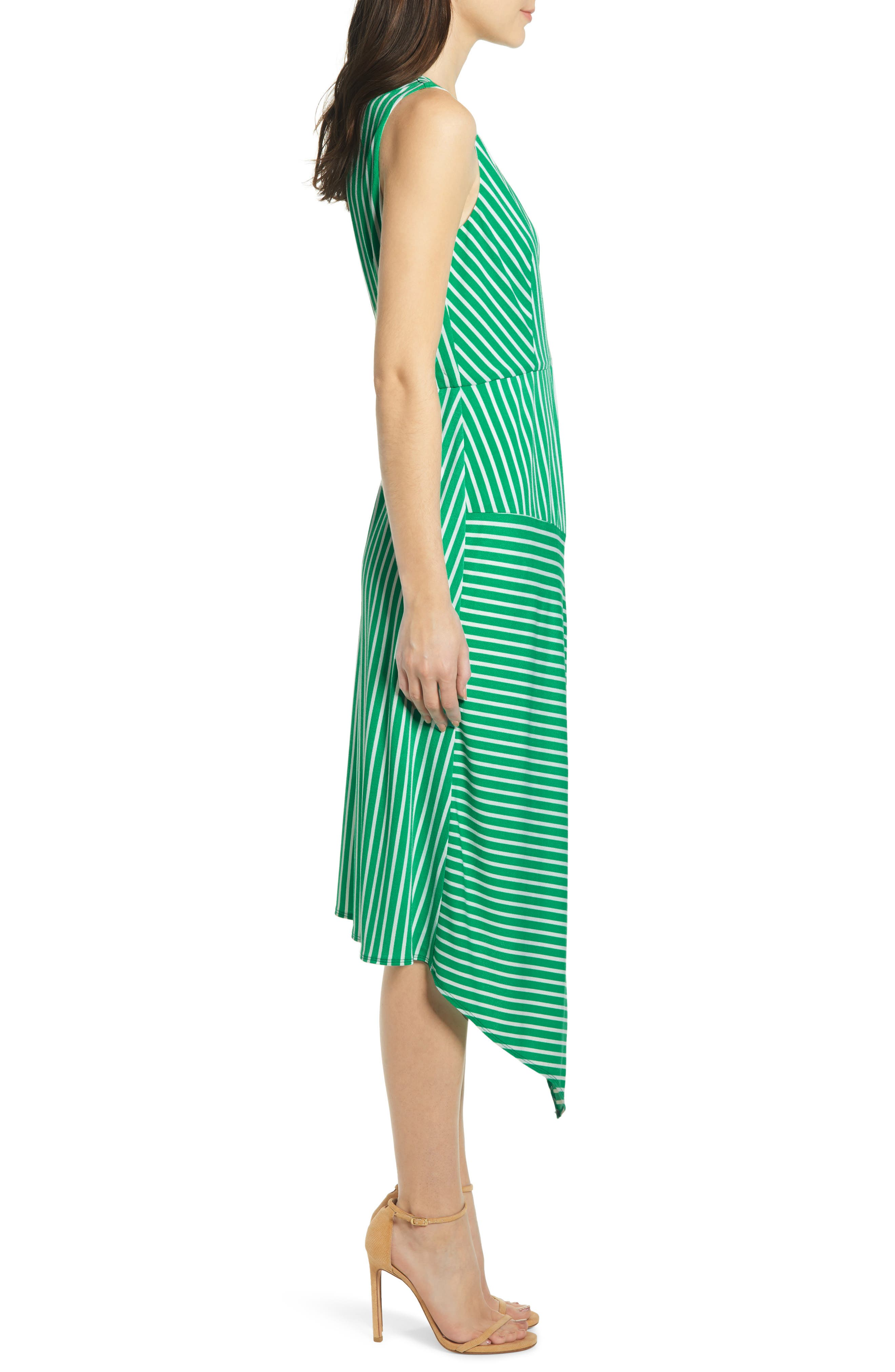 ,                             Wrap Midi Dress,                             Alternate thumbnail 6, color,                             JADE-WHITE STRIPE