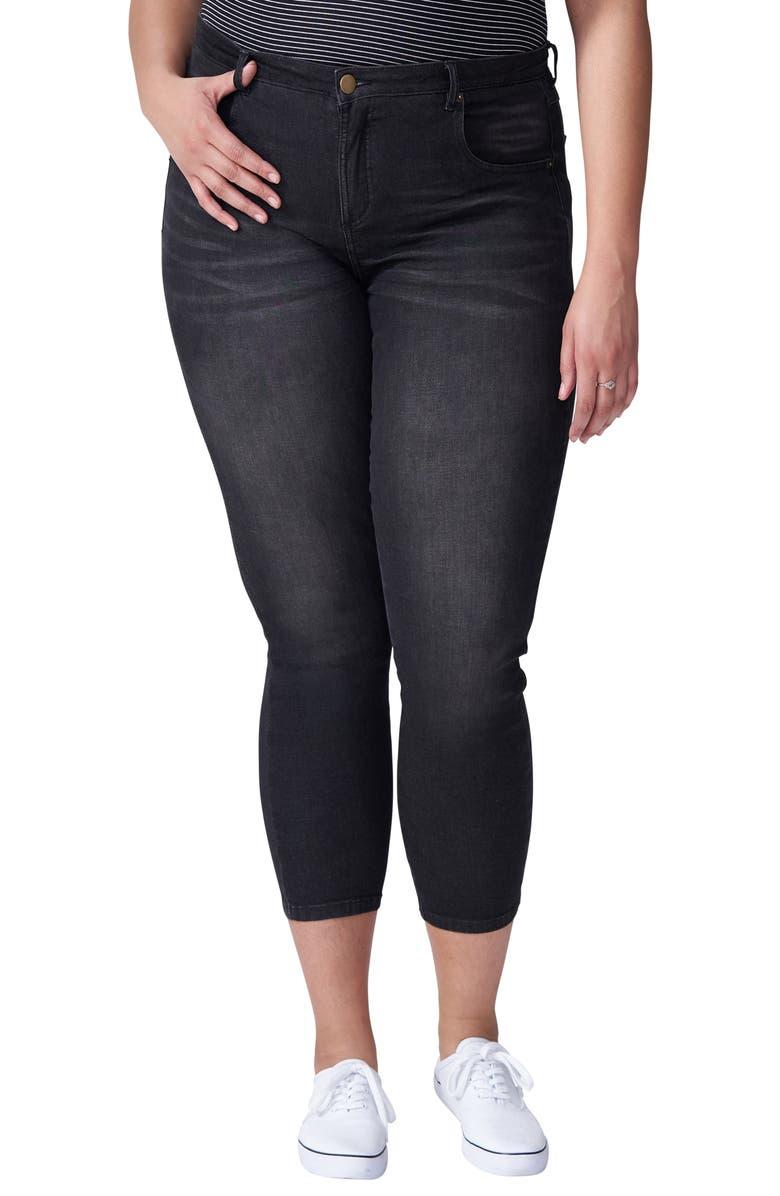 UNIVERSAL STANDARD Seine Skinny Jeans, Main, color, DISTRESSED BLACK