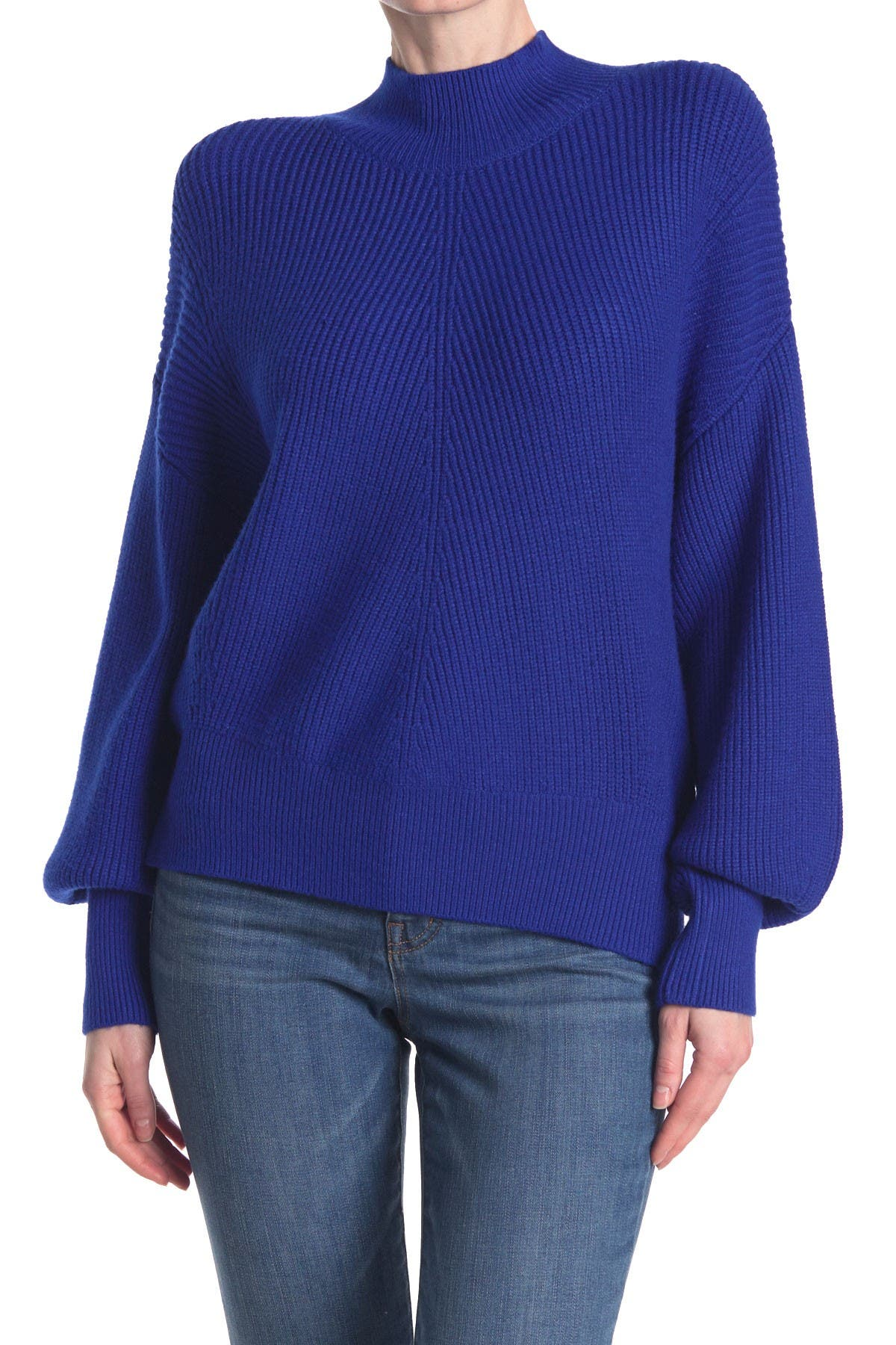 Image of Elodie Mock Neck Balloon Sleeve Sweater