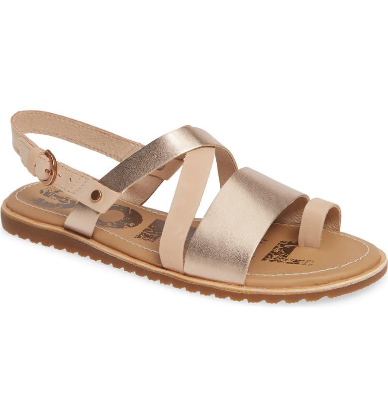 SOREL Ella Criss Cross Sandal, Main, color, NATURAL TAN