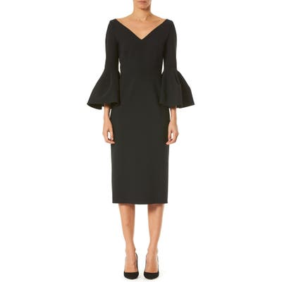 Carolina Herrera Bell Sleeve Stretch Wool Dress, Black