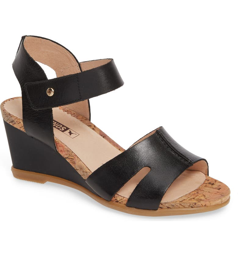 PIKOLINOS Vigo Wedge Sandal, Main, color, BLACK LEATHER