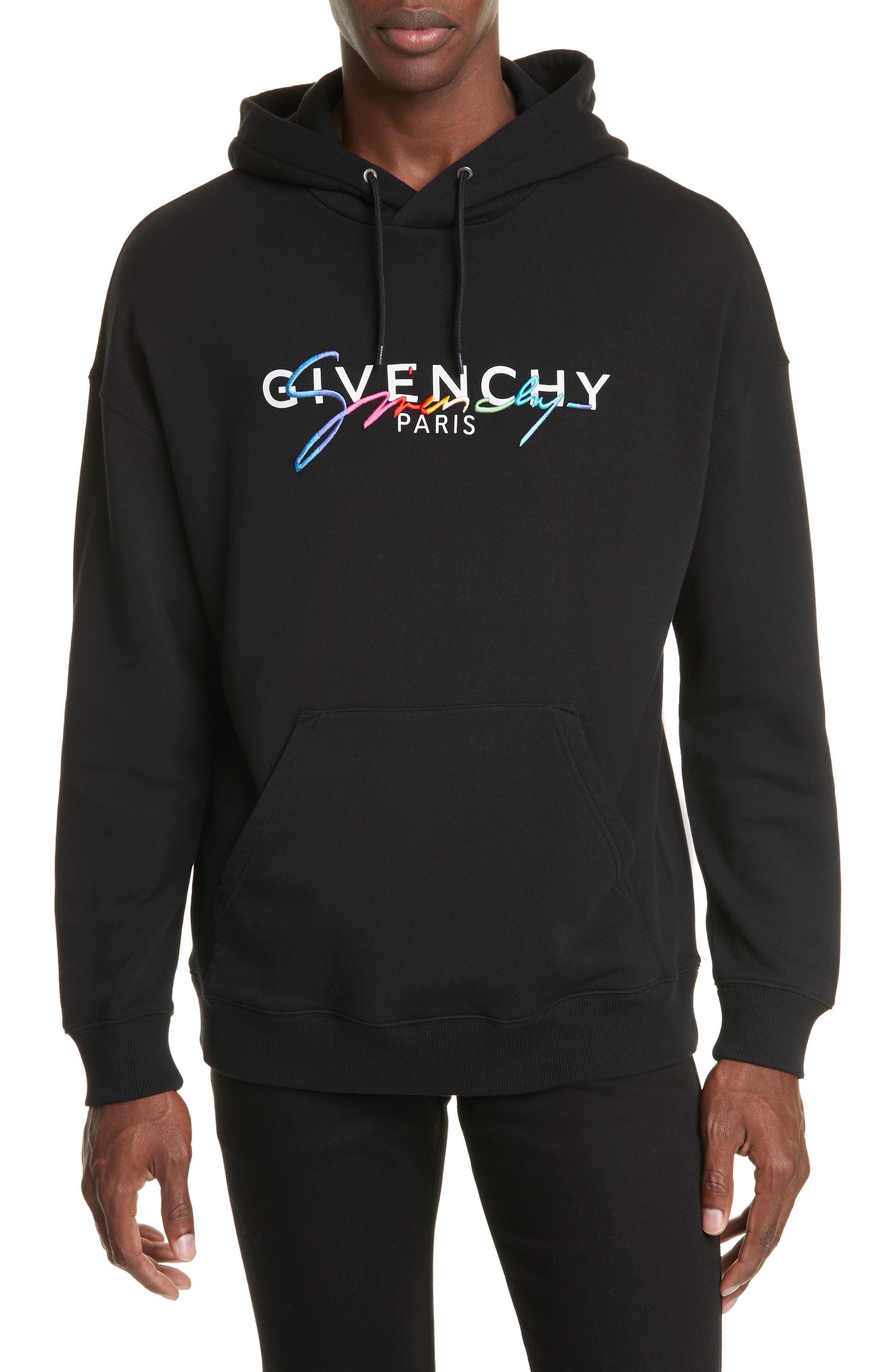 Givenchy T-shirts Embroidered Rainbow Logo Hooded Sweatshirt