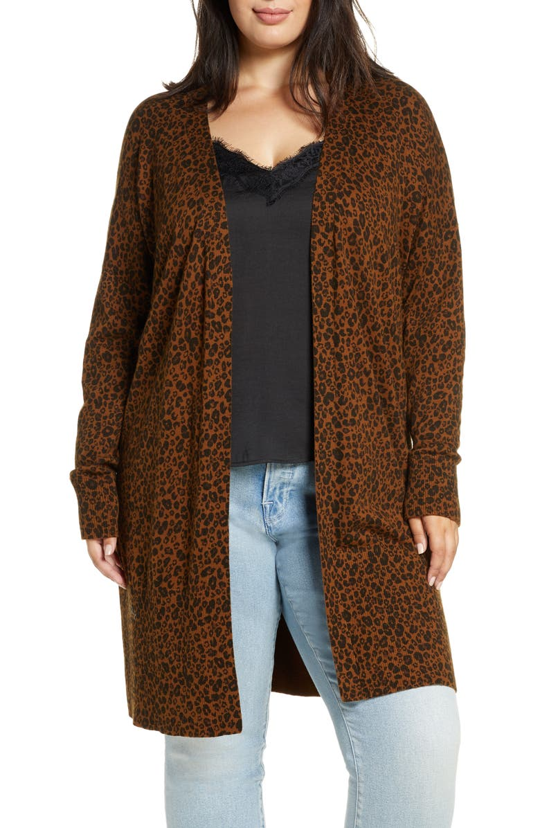 SANCTUARY Lenox Open Front Cardigan, Main, color, LEOPARD