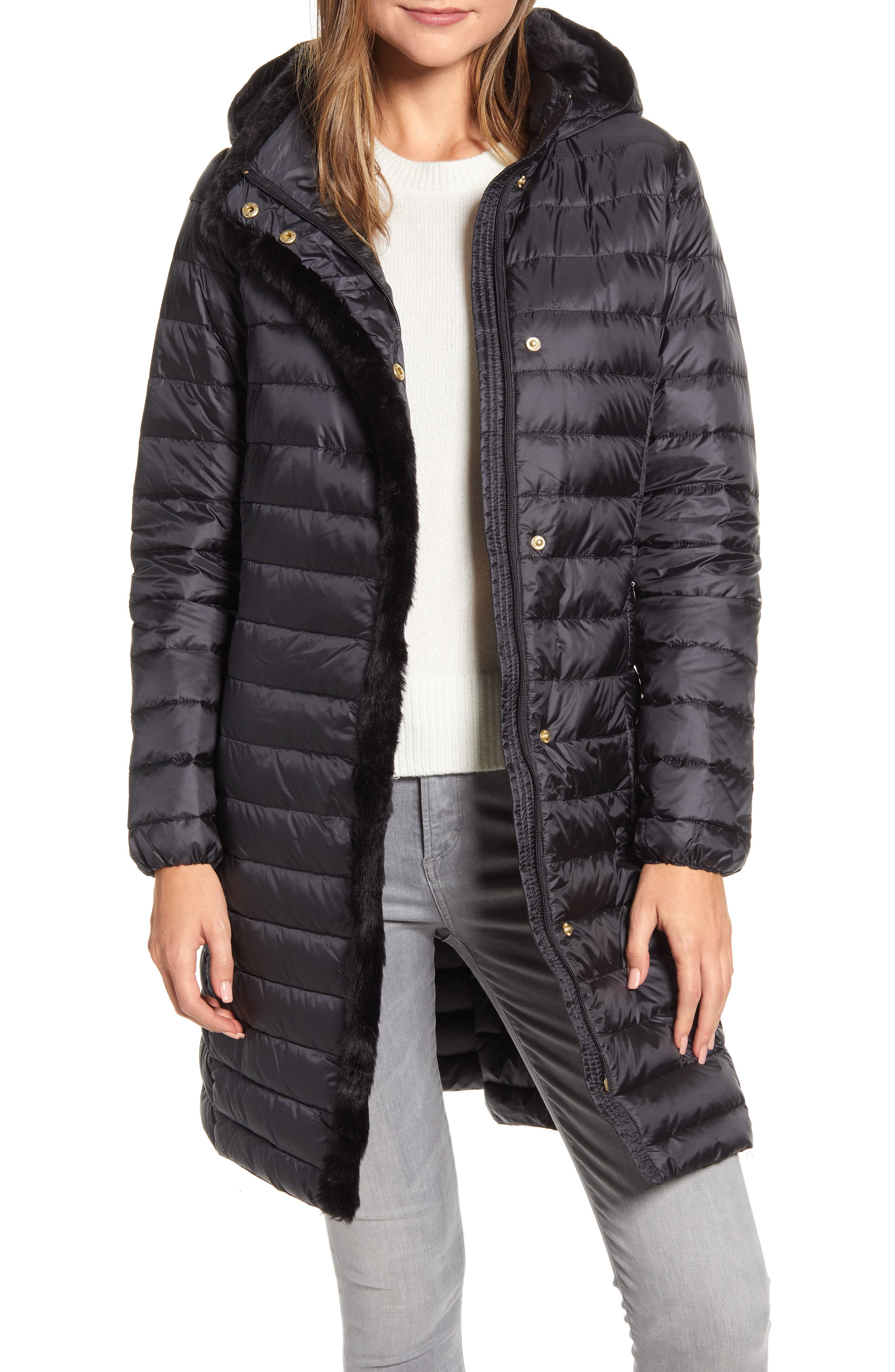 Image of COLE HAAN SIGNATURE Faux Fur Trim Water Repellent Quilted Coat