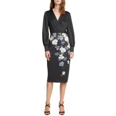 Ted Baker London Alithea Floral Long Sleeve Midi Dress, (fits like 00 US) - Black