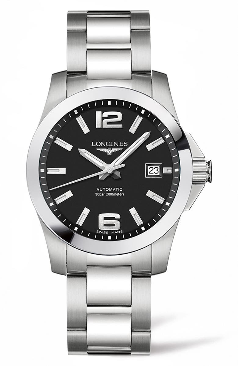 LONGINES Conquest Automatic Bracelet Watch, 39mm, Main, color, 040