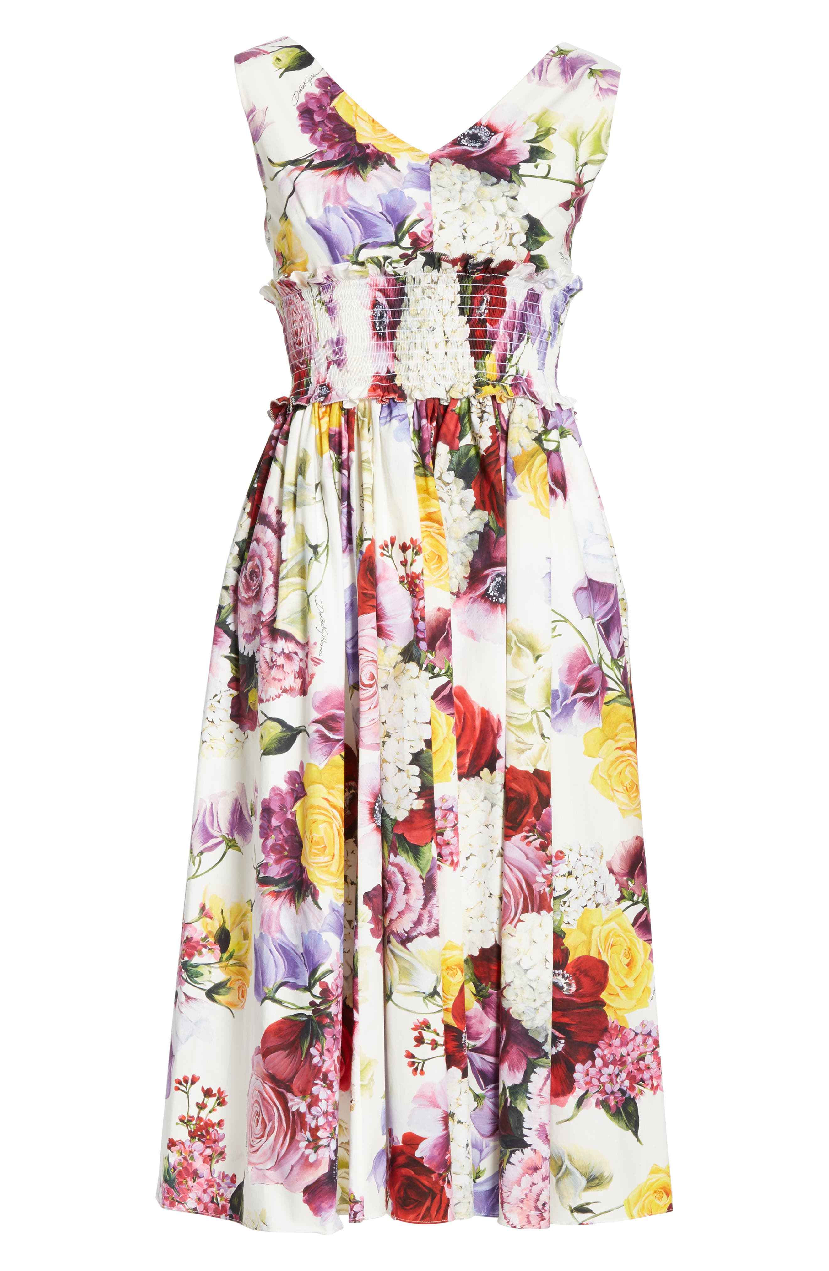 ,                             Floral Print Smock Waist Poplin Dress,                             Alternate thumbnail 6, color,                             PINK FLORAL