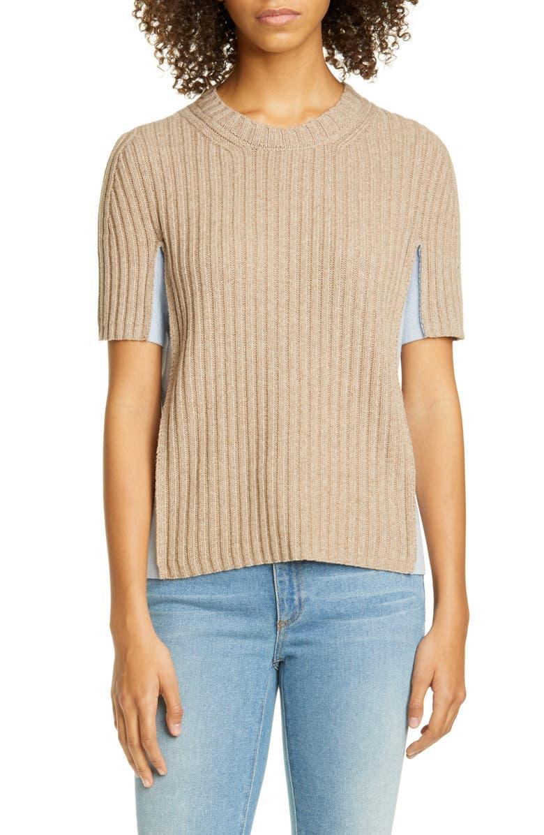 MAISON MARGIELA Contrast Panel Ribbed Sweater, Main, color, BEIGE