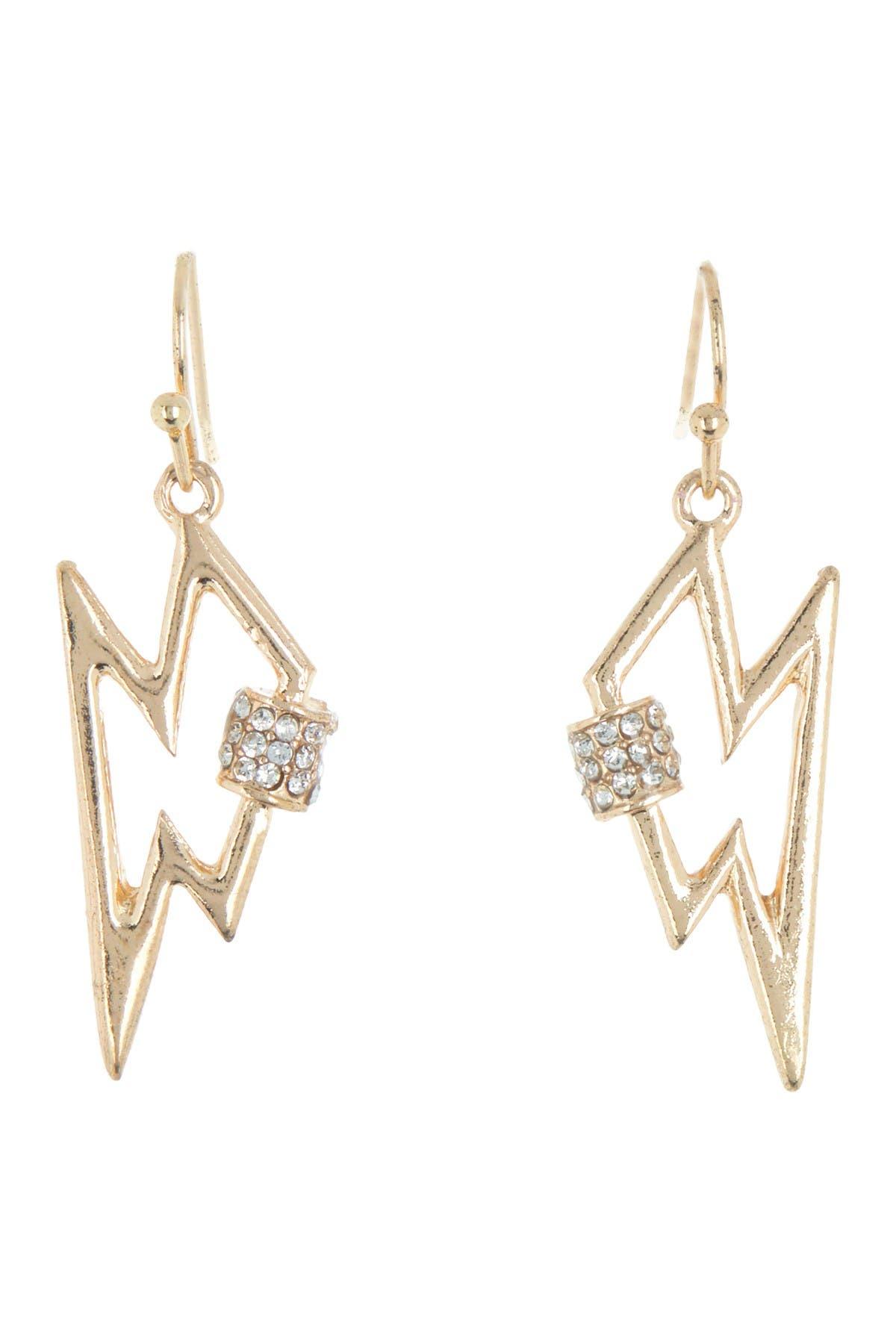 Image of AREA STARS Mini Lightning Bolt Crystal Bling Earrings