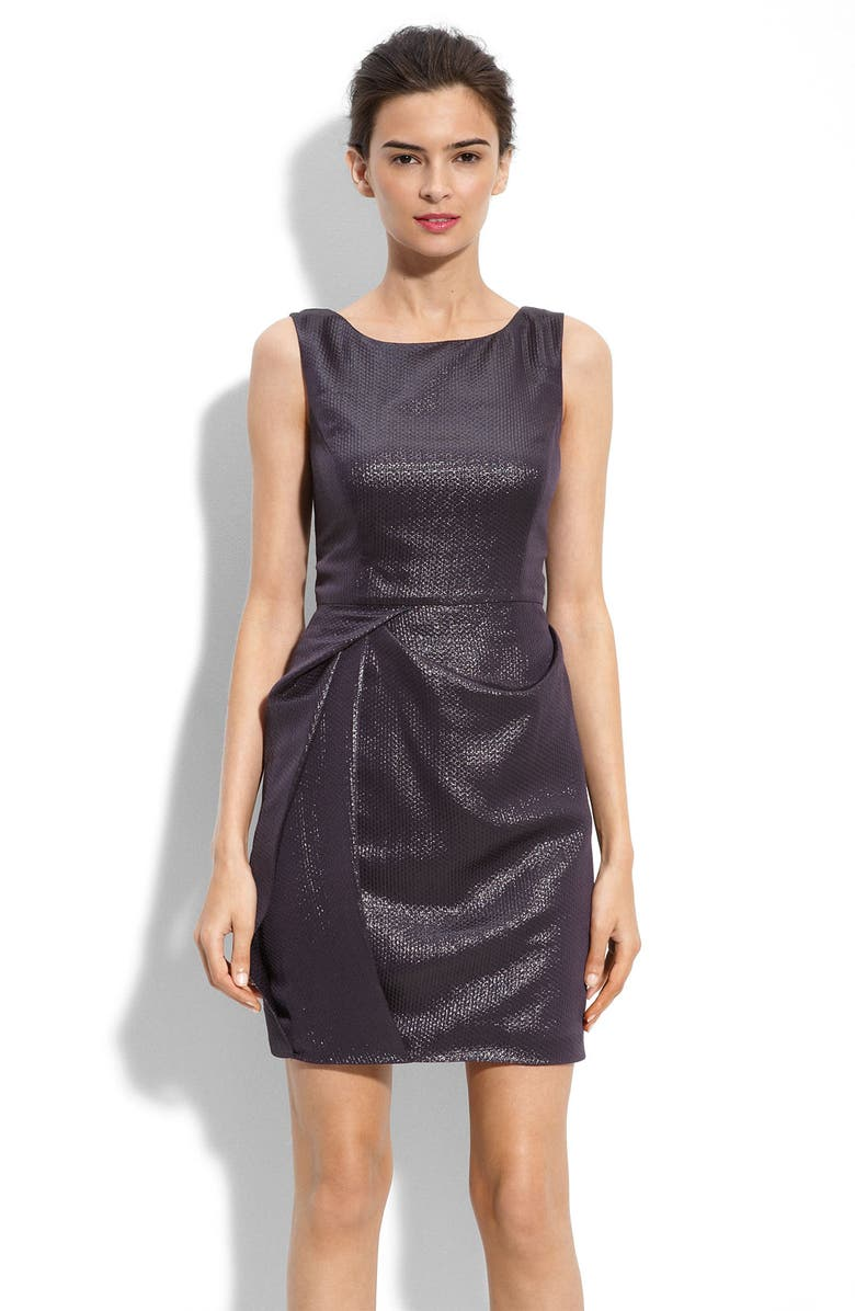 MARC NEW YORK Draped Skirt Metallic Jacquard Dress, Main, color, 500