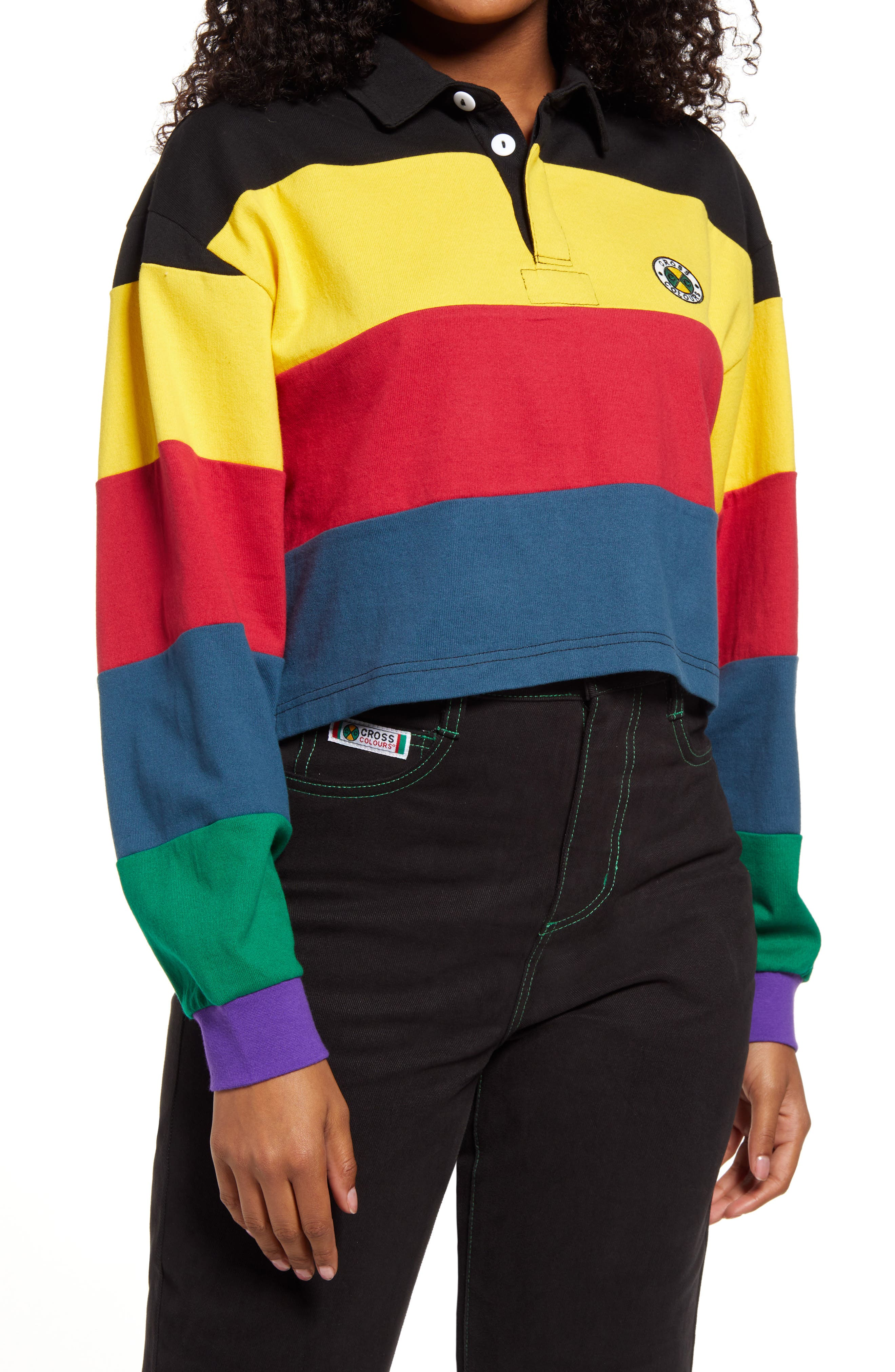 Multi Stripe Crop Rugby Pullover