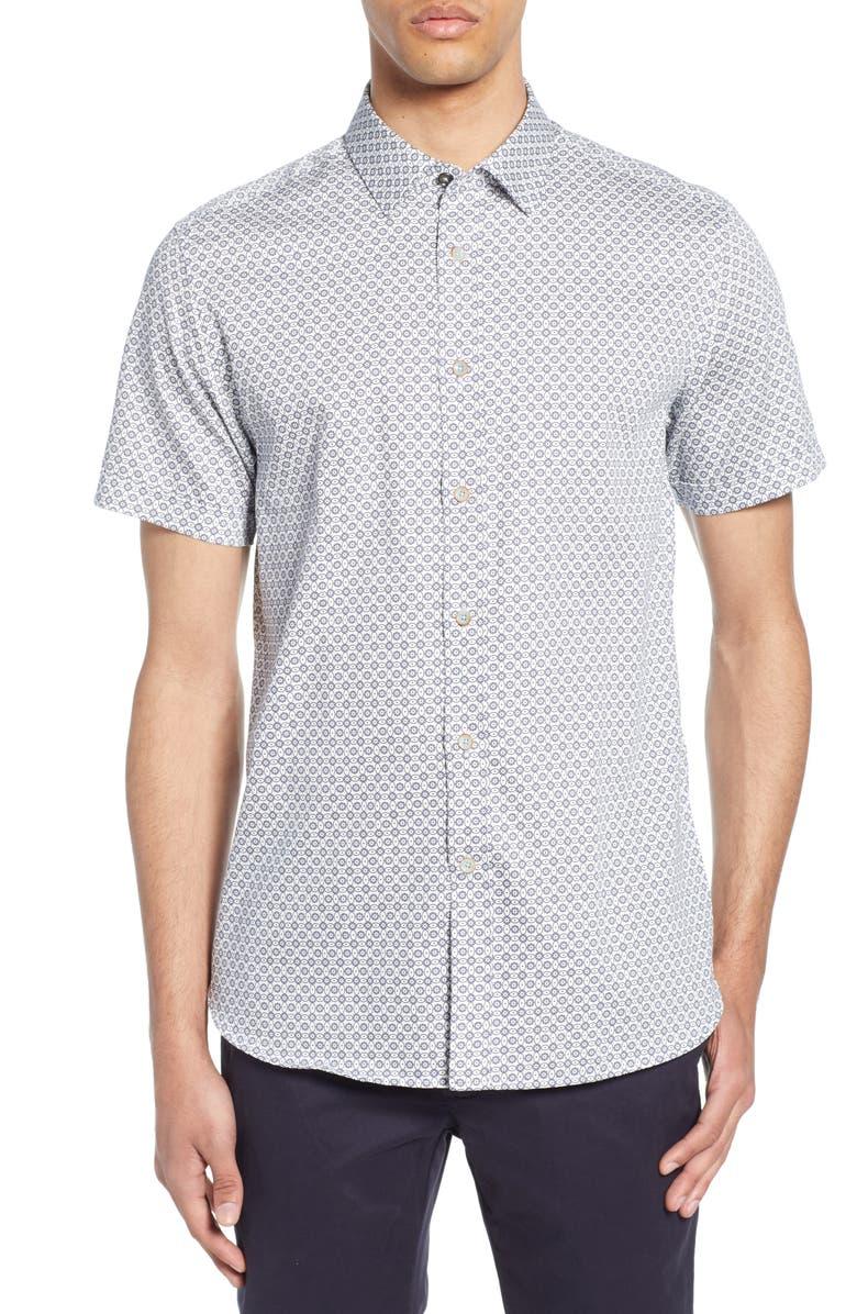 TED BAKER LONDON Gooslin Slim Fit Print Shirt, Main, color, 110