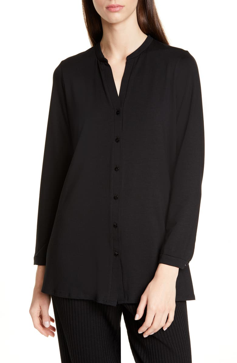 EILEEN FISHER Long Sleeve Jersey Tunic, Main, color, BLACK