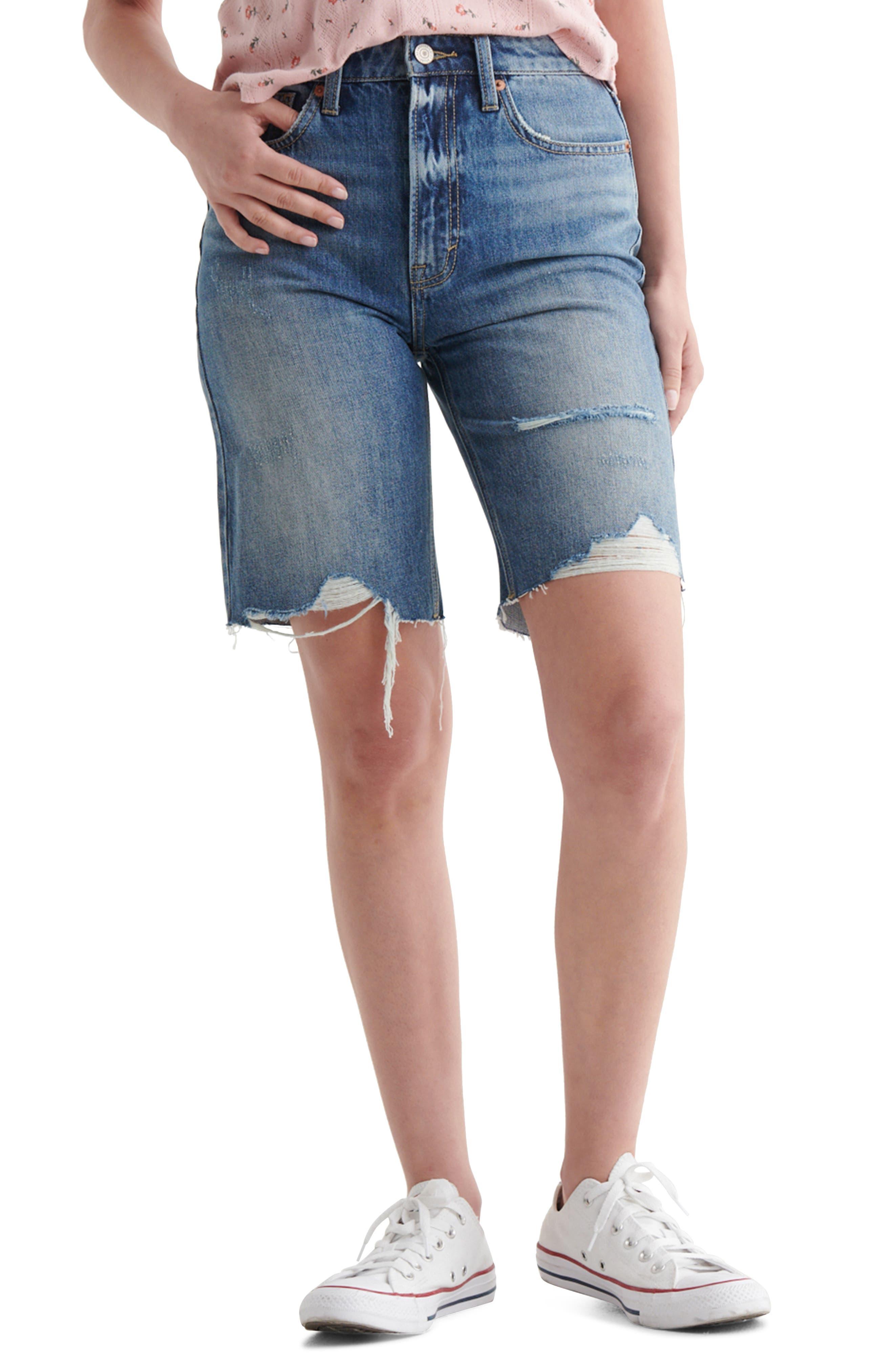 Destroyed Hem Cutoff Denim Bermuda Shorts