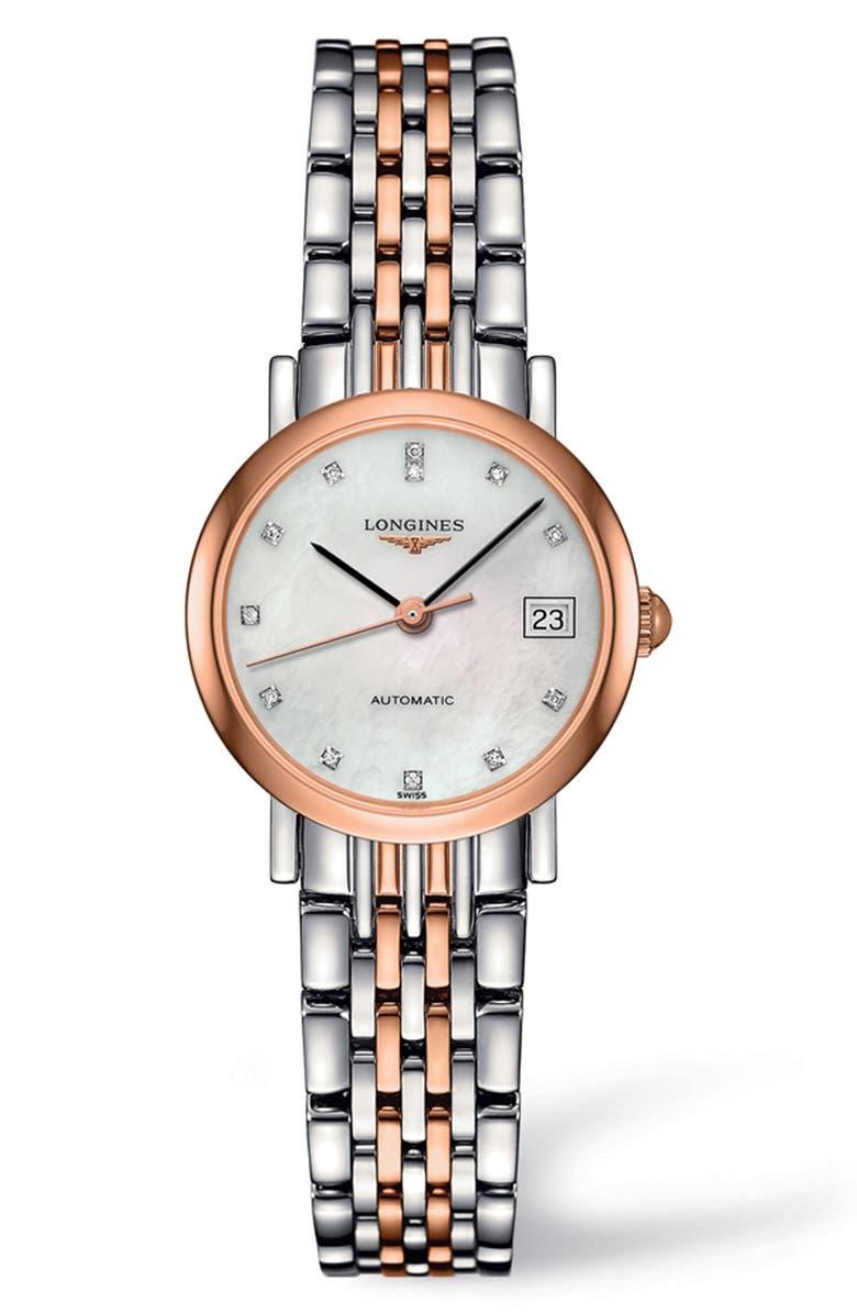 LONGINES Elegant Automatic Diamond Bracelet Watch, 25.5mm, Main, color, SILVER/ MOP/ ROSE GOLD