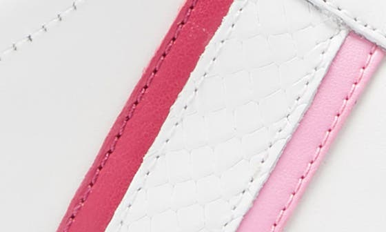 WHITE/ NEON PINK LEATHER