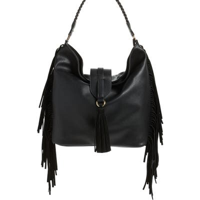 Cesca Fringe Faux Leather Shoulder Bag - Black