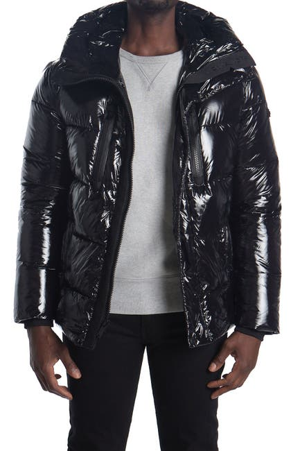 Image of Michael Kors Hooded Glossy Quilted Jacket