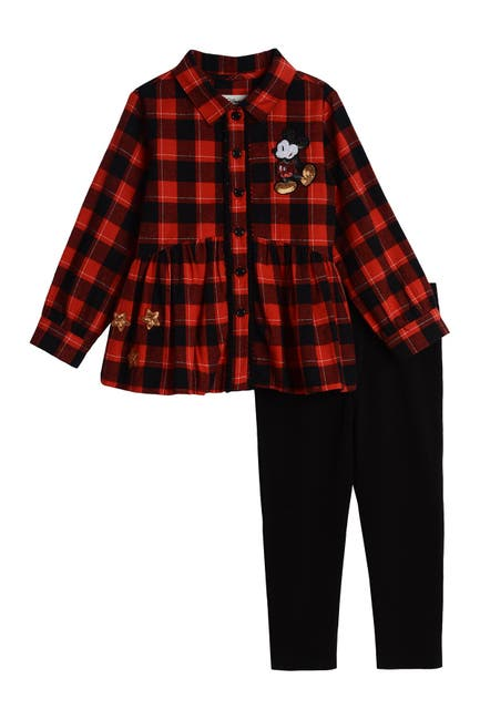 Image of Pastourelle by Pippa and Julie Mickey & Minnie Plaid Leggings 2-Piece Set